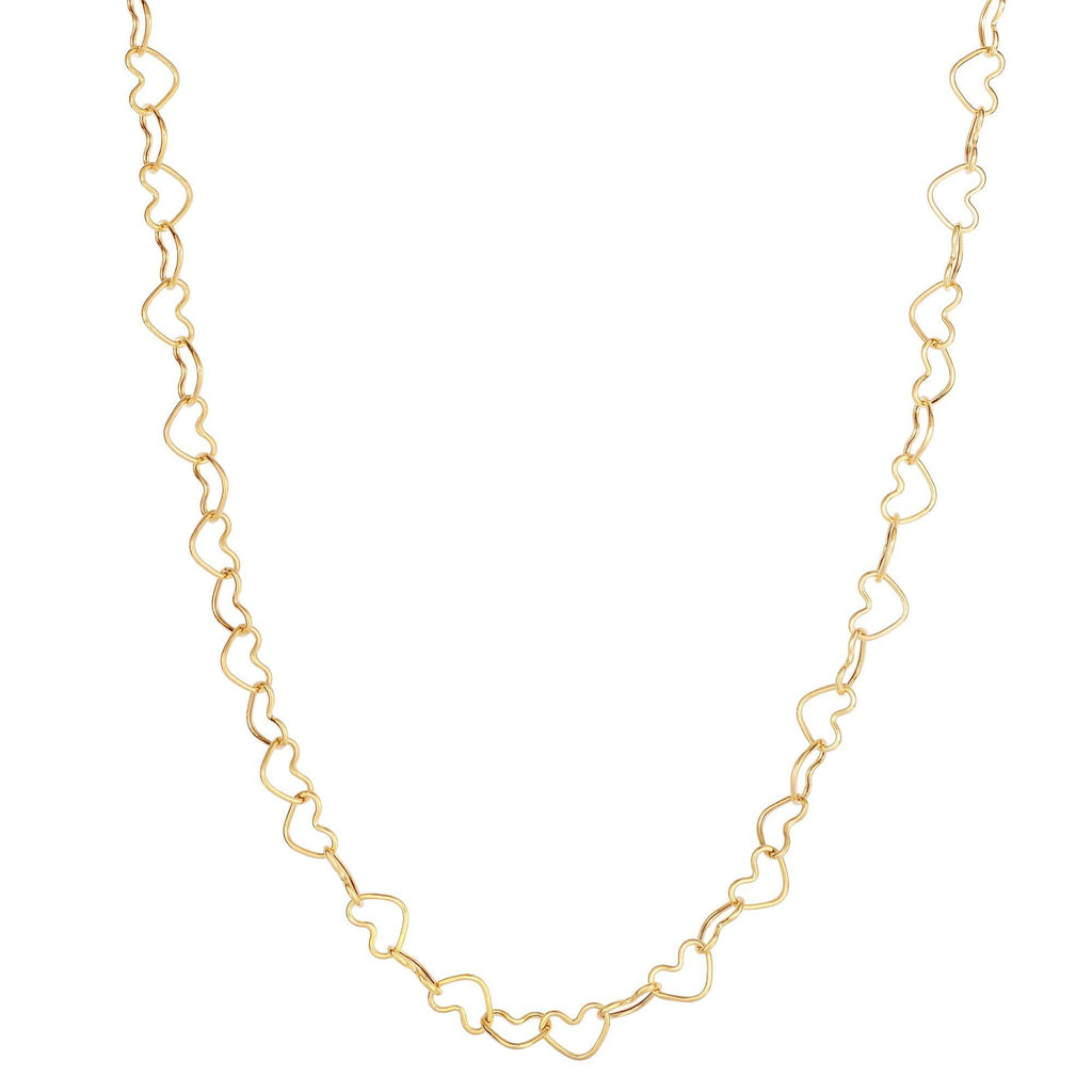 14kt 18 inches Yellow Gold Shiny Open Heart Link Necklace with Lobster Clasp (5688354603163)