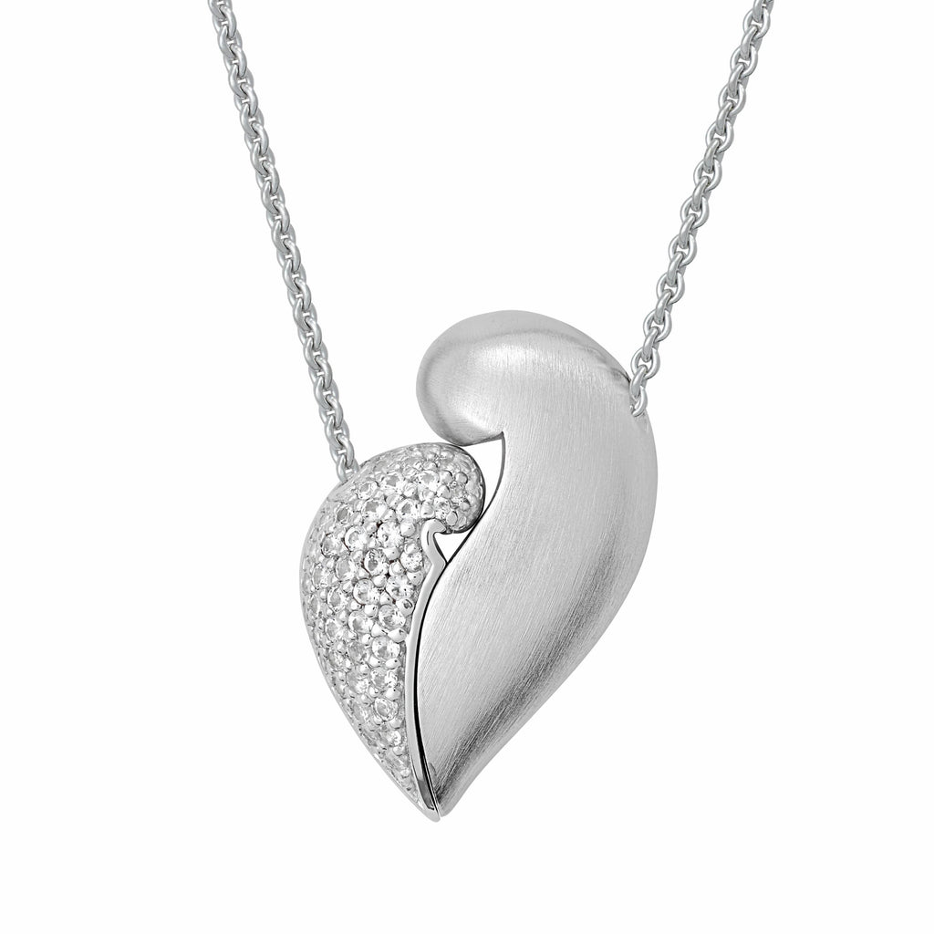 "PETRA AZAR ""NO GREATER LOVE"" STERLING SILVER NECKLACE WITH WHITE SAPPHIRES (4997405016108)"