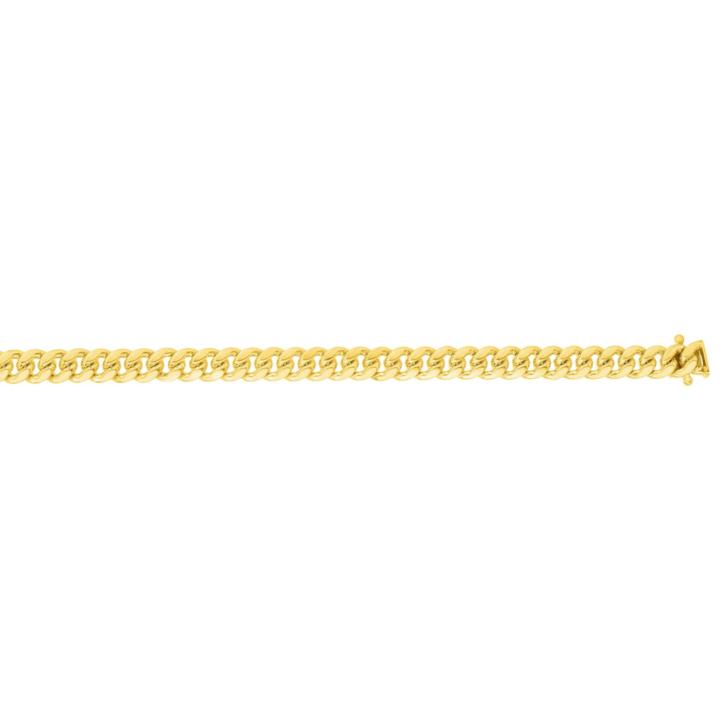 14kt 22 inches with Yellow Gold Finiah 4mm New Miami Cuban Link Chain with Box Clasp (5688354275483)