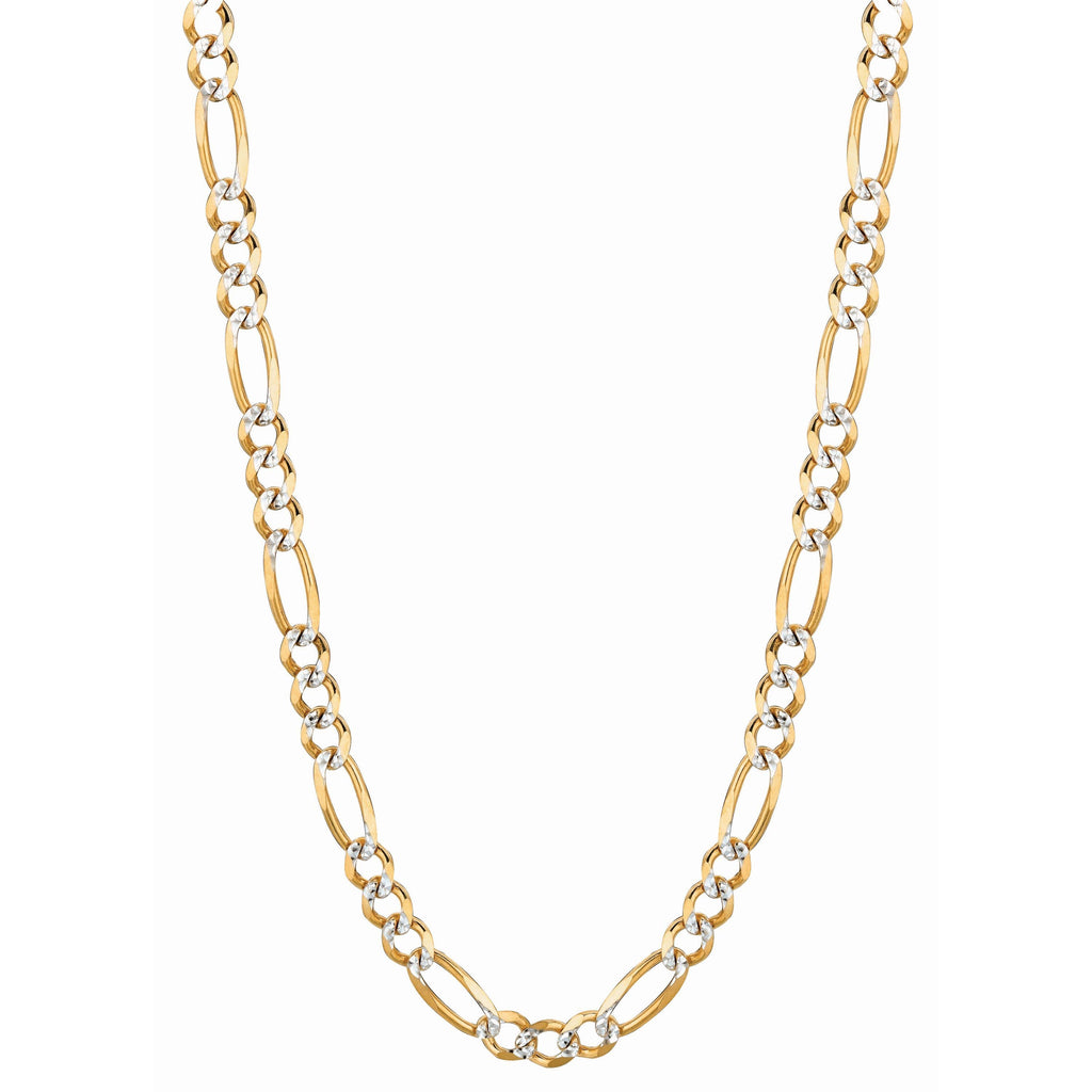 14kt Gold 22 inches Yellow Finish 5.8mm Classic Pave Figaro Chain with Lobster Clasp (5688353849499)