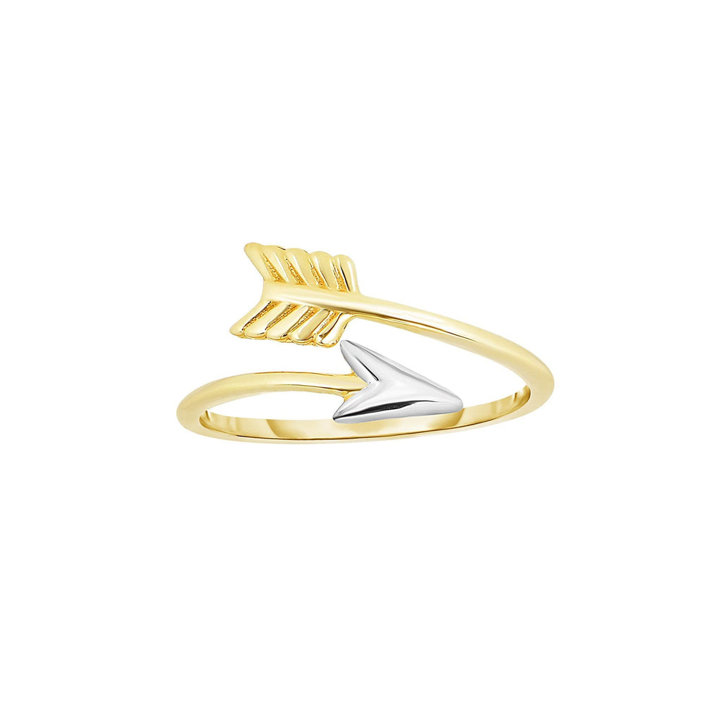 14kt Yellow+White Gold 1.2mm Shiny Bypass Type Arrow Ring with White Tip (5688347033755)