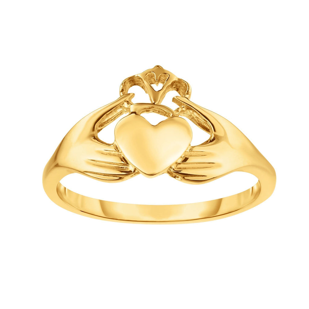 14kt Gold Size-7 Yellow Finish 1.6-10mm Shiny Claddagh Ring (5688346640539)
