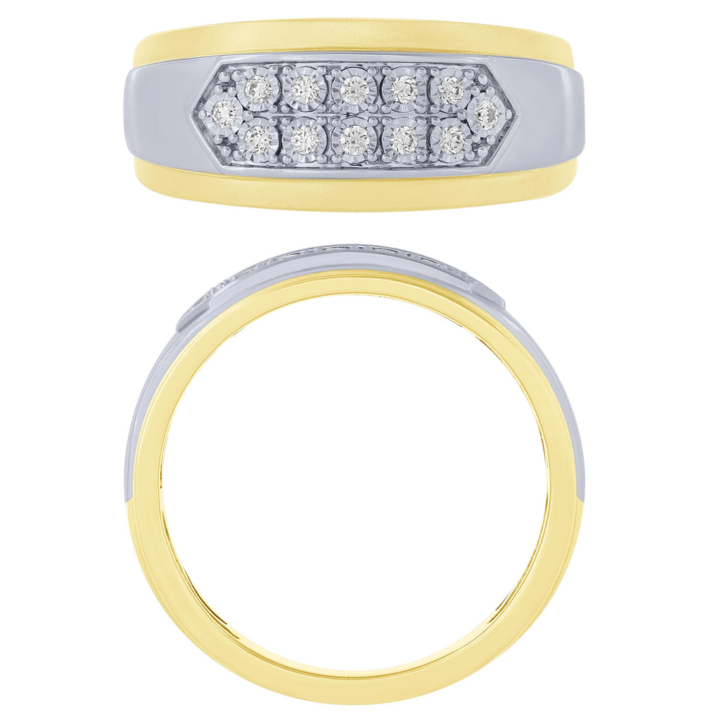 14k Two Tone Gold 1/6Ctw Diamond Mens Ring (6738322391195)