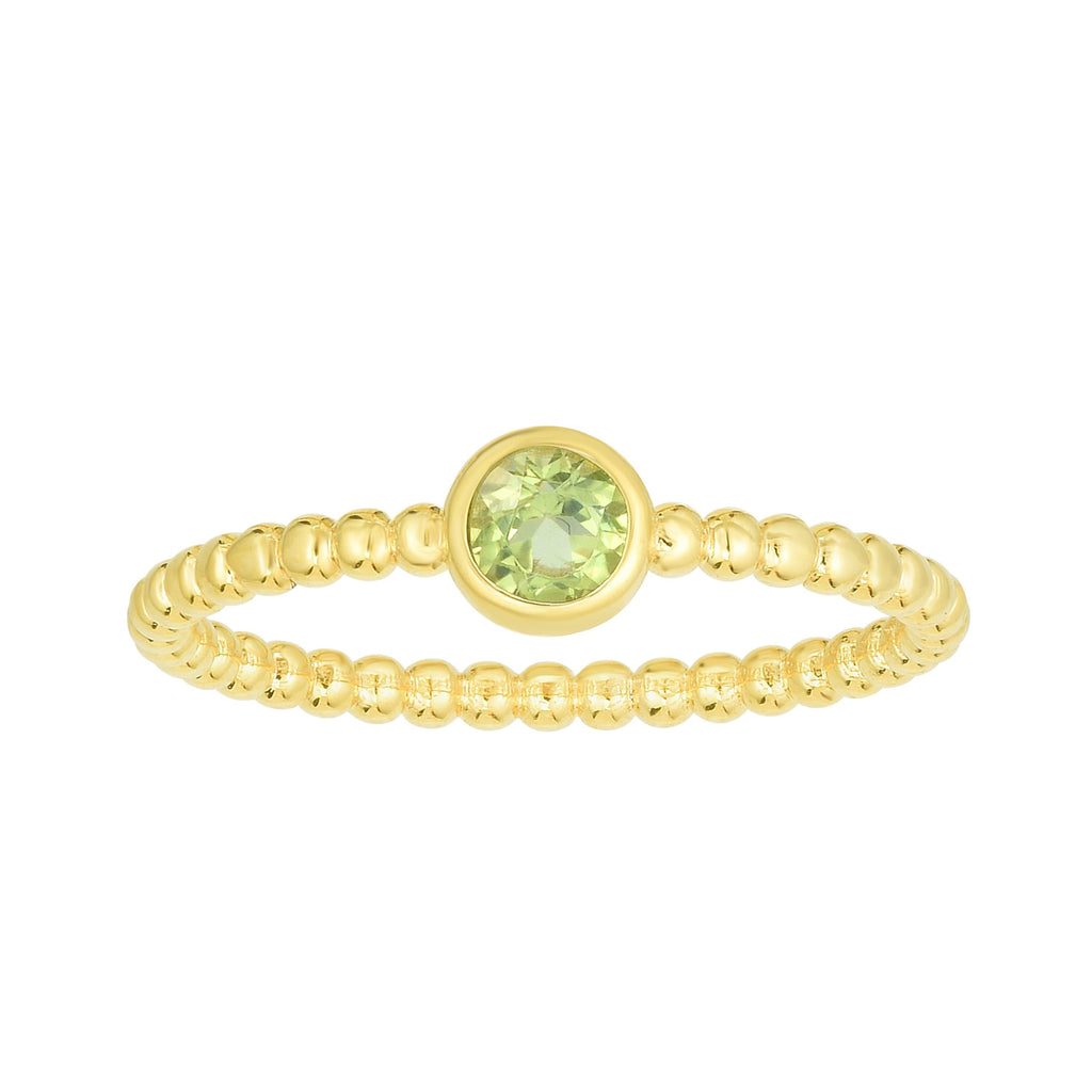 14kt Gold Size-7 Yellow Finish 4.5mm Polished Beaded Ring  with  4mm Round Peridot (5688344838299)