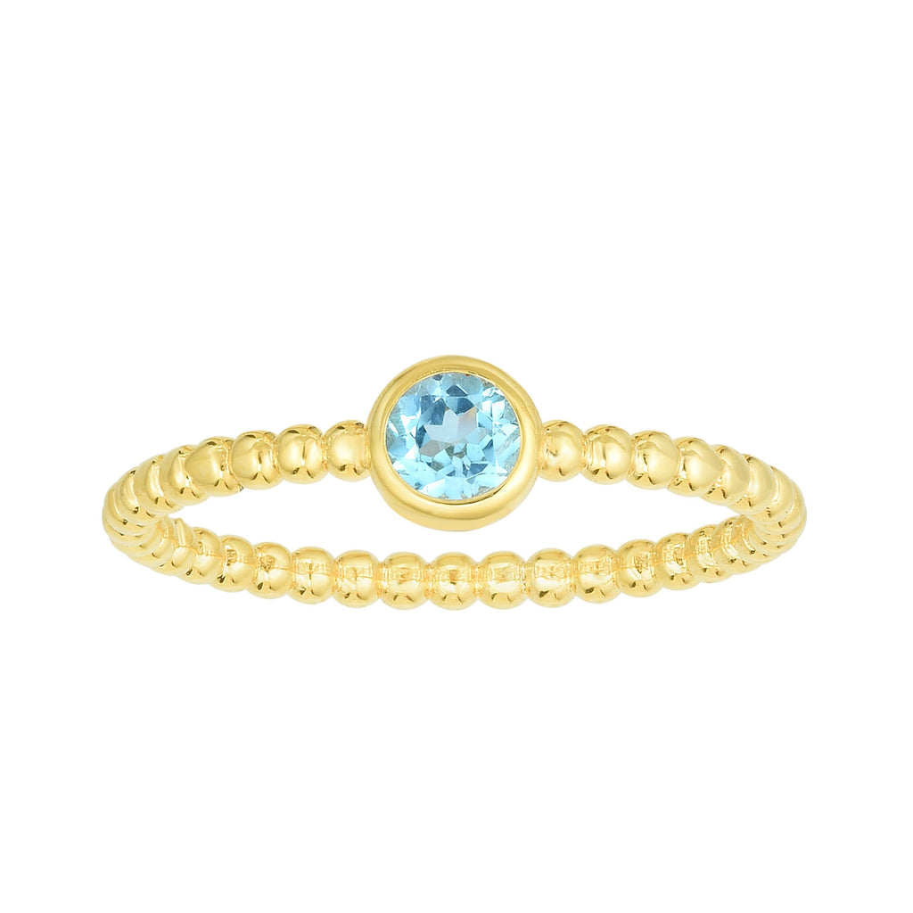 14kt Gold Size-7 Yellow Finish 4.5mm Polished Beaded Ring  with  4mm Round Swiss Blue Topaz (5688344182939)