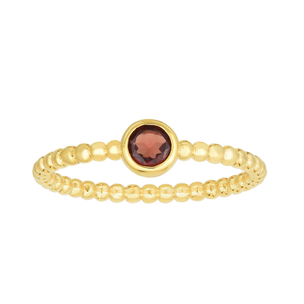 14kt Gold Size-7 Yellow Finish 4.5mm Polished Beaded Ring  with  4mm Round Garnet (5688343986331)