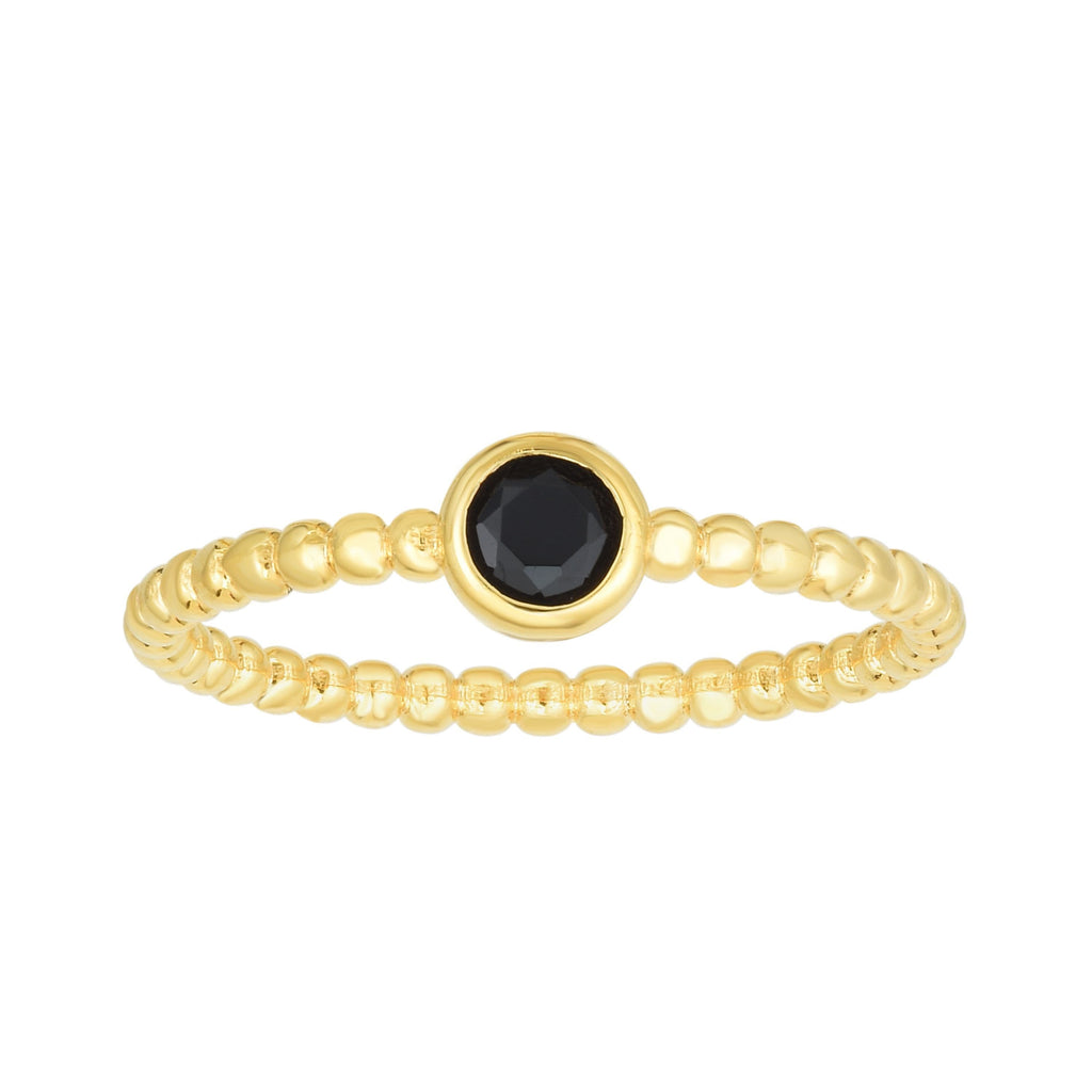 14kt Gold Size-7 Yellow Finish 4.5mm Polished Beaded Ring  with  4mm Round Black Spinel (5688343855259)