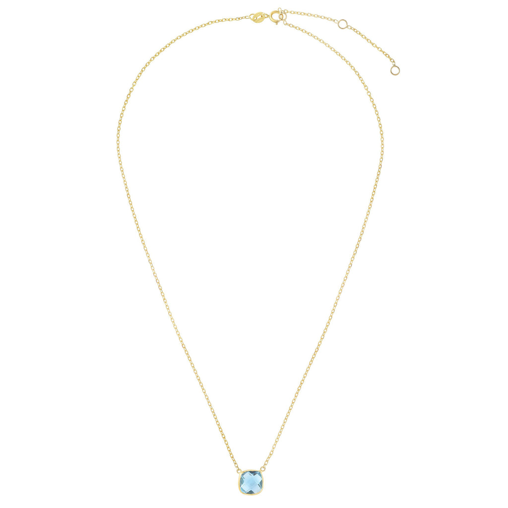 14kt Gold 17 inches Yellow Finish Extendable Colored Stone Necklace with Spring Ring Clasp with 2.5000ct 8x8mm Cushion Sky Blue Topaz (5688351260827)
