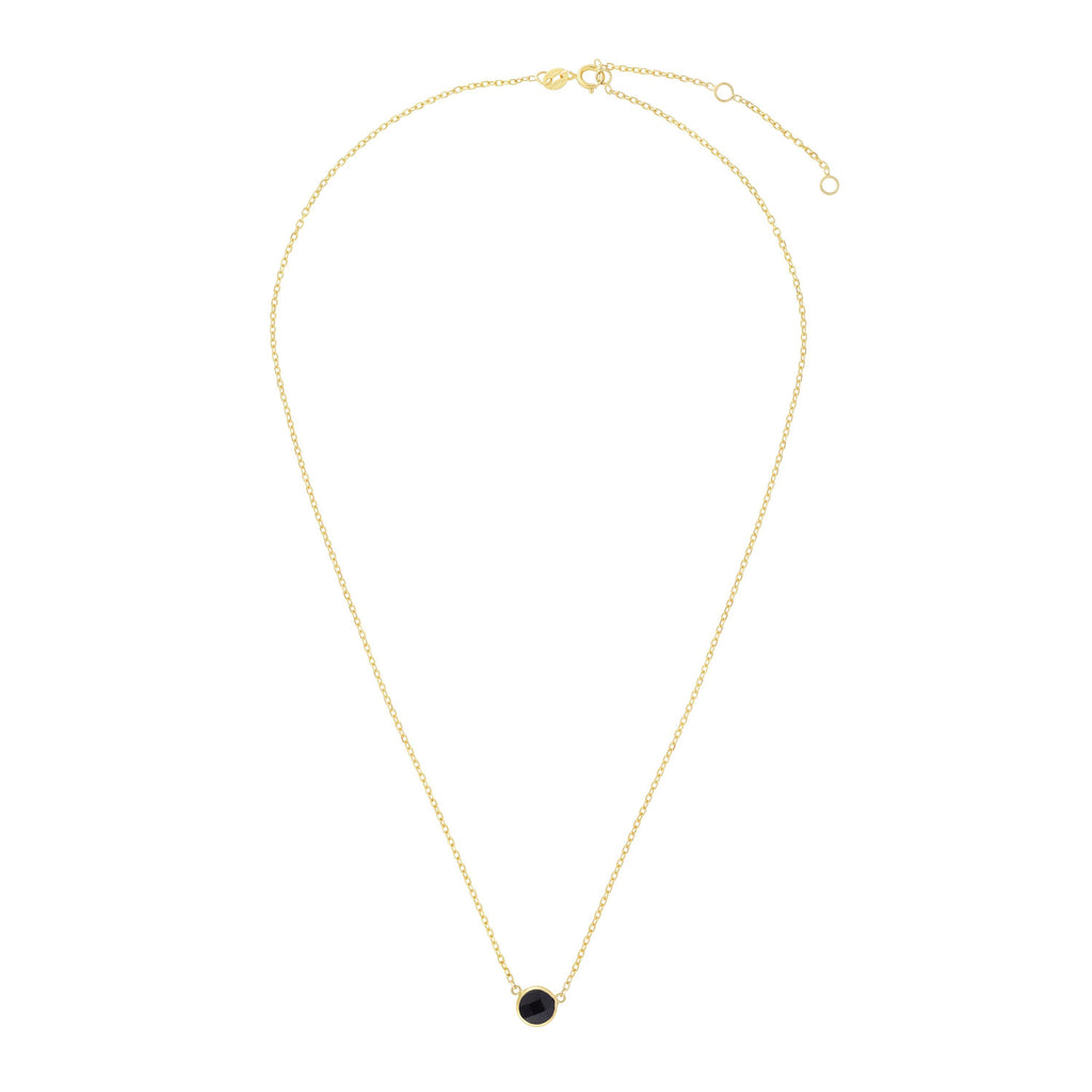 14kt Gold 17 inches Yellow Finish Extendable Colored Stone Necklace with Spring Ring Clasp with 0.9000ct 6mm Round Black Onyx (5688351064219)