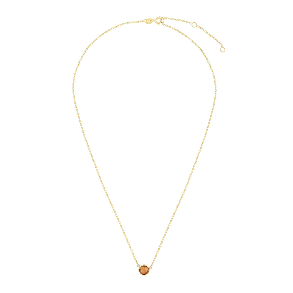 14kt Gold 17 inches Yellow Finish Extendable Colored Stone Necklace with Spring Ring Clasp with 0.9000ct 6mm Round Yellow Citrine (5688350867611)