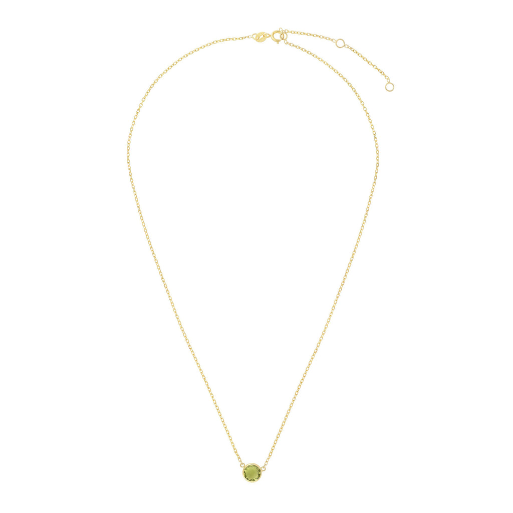 14kt Gold 17 inches Yellow Finish Extendable Colored Stone Necklace with Spring Ring Clasp with 0.9000ct 6mm Round Green Peridot (5688350671003)