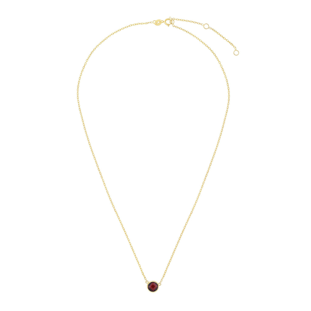 14kt Gold 17 inches Yellow Finish Extendable Colored Stone Necklace with Spring Ring Clasp with 0.9000ct 6mm Round Burgundy Garnet (5688350507163)