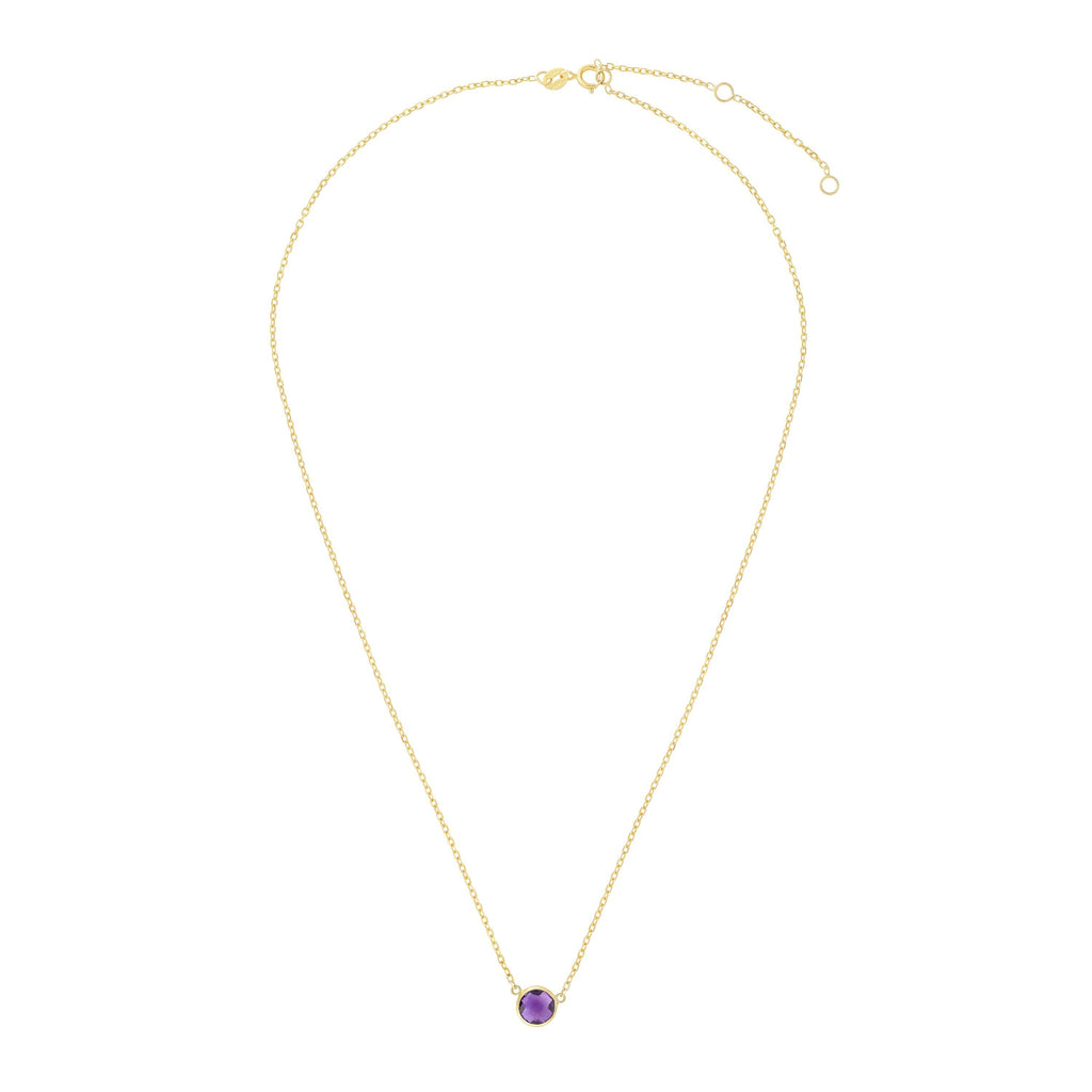 14kt Gold 17 inches Yellow Finish Extendable Colored Stone Necklace with Spring Ring Clasp with 0.9000ct 6mm Round Purple Amethyst (5688350343323)
