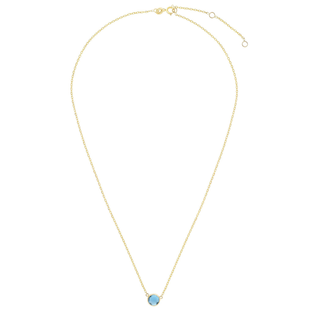 14kt Gold 17 inches Yellow Finish Extendable Colored Stone Necklace with Spring Ring Clasp with 0.9000ct 6mm Round Blue Topaz (5688350113947)