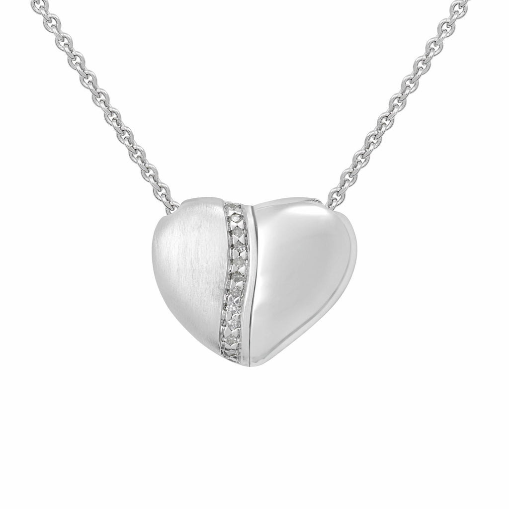 "PETRA AZAR ""RIVER OF LOVE"" PETITE SILVER HEART NECKLACE WITH DIAMONDS (4997501222956)"