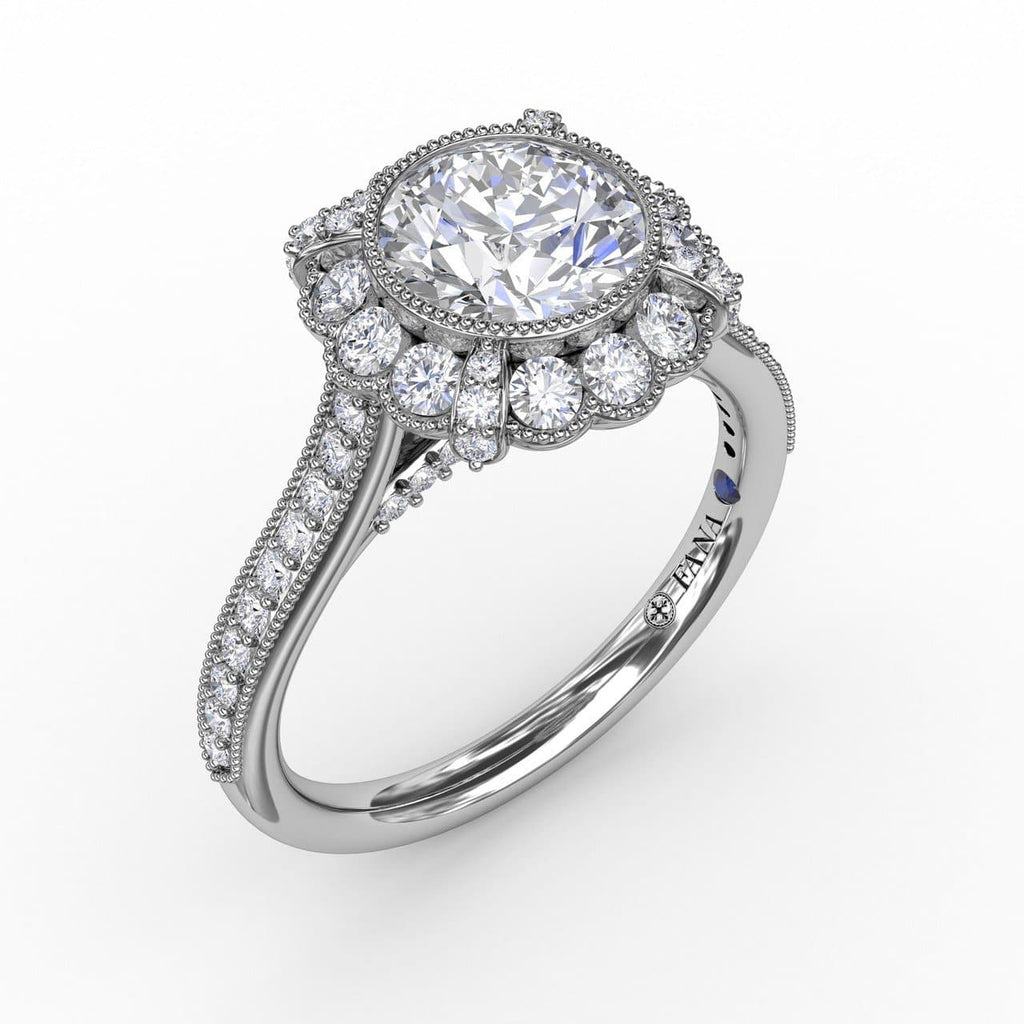 Vintage Scalloped Halo Engagement Ring With Milgrain Details (5552771989659)