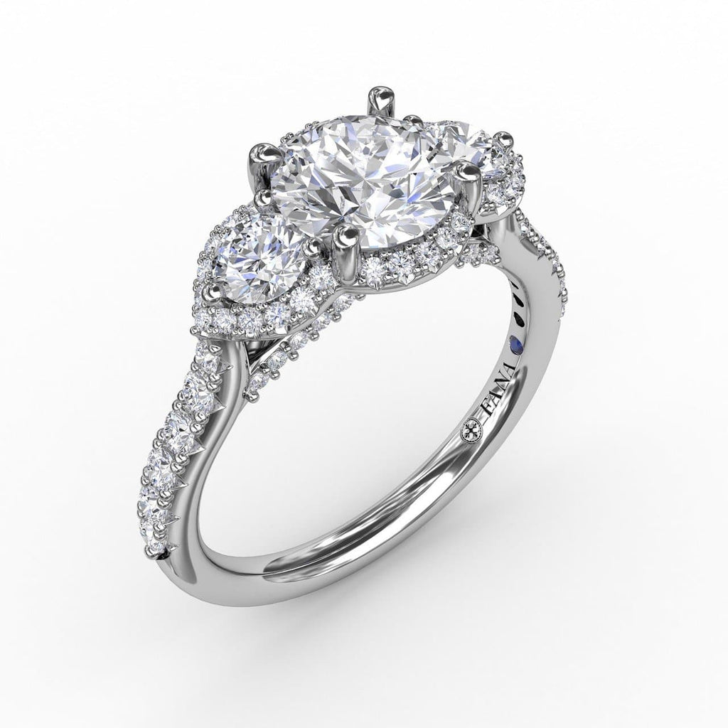 Three-Stone Round Diamond Halo Engagement Ring (5552772776091)