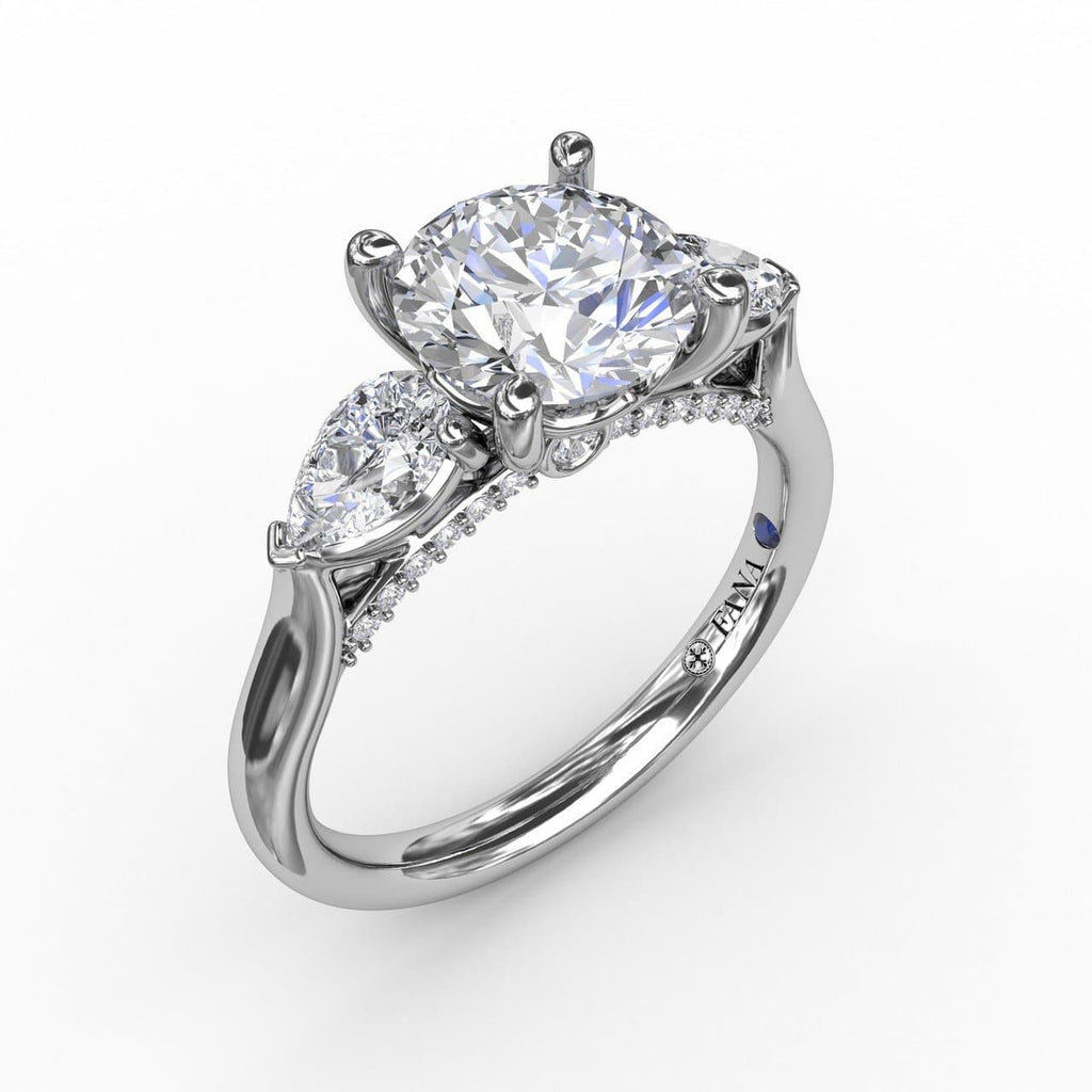 Classic Three-Stone Engagement Ring With Pear-Shape Side Diamonds (5552773300379)