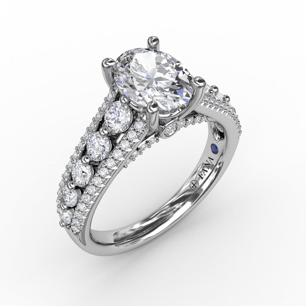 Classic Oval Diamond Solitaire Engagement Ring With Triple-Row Diamond Band (5552774054043)