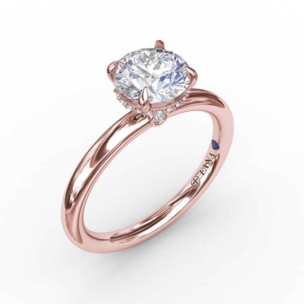 Contemporary Round Diamond Solitaire Engagement Ring With Hidden Pavé Halo (5552787259547)