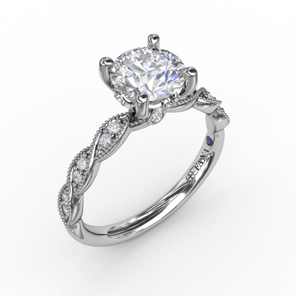 Classic Diamond Solitaire Engagement Ring With Diamond Twist Band (5552774676635)