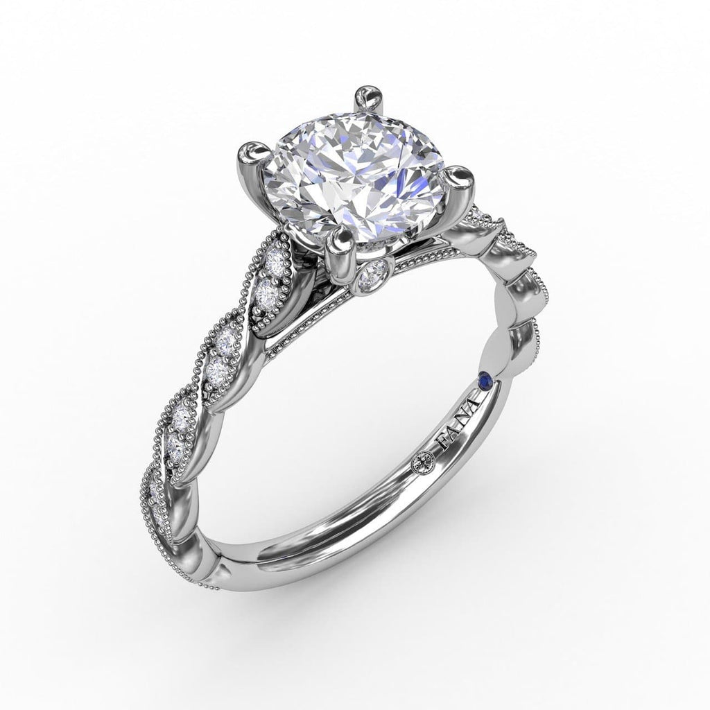 Classic Diamond Solitaire Engagement Ring With Diamond Twist Band (5552774938779)