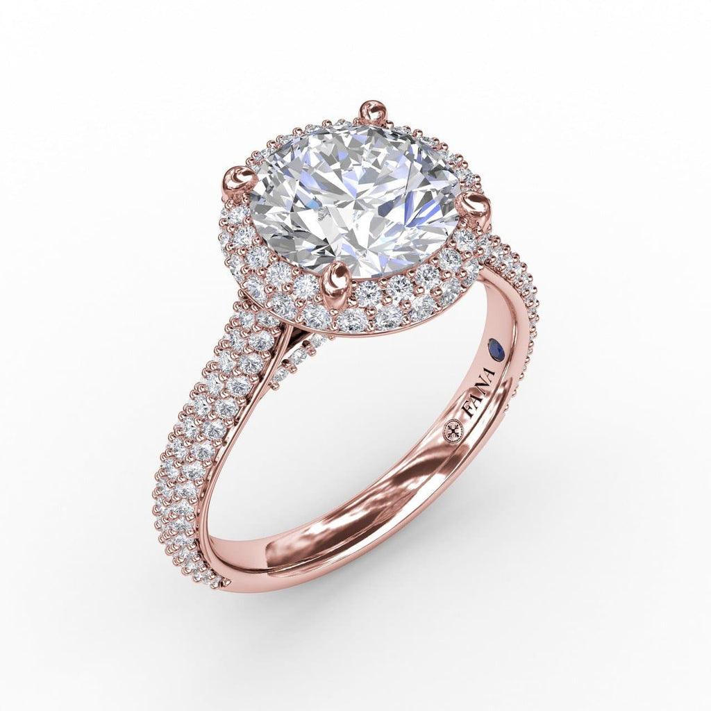 Seamless Pavé Diamond Double Halo Engagement Ring (5552789258395)