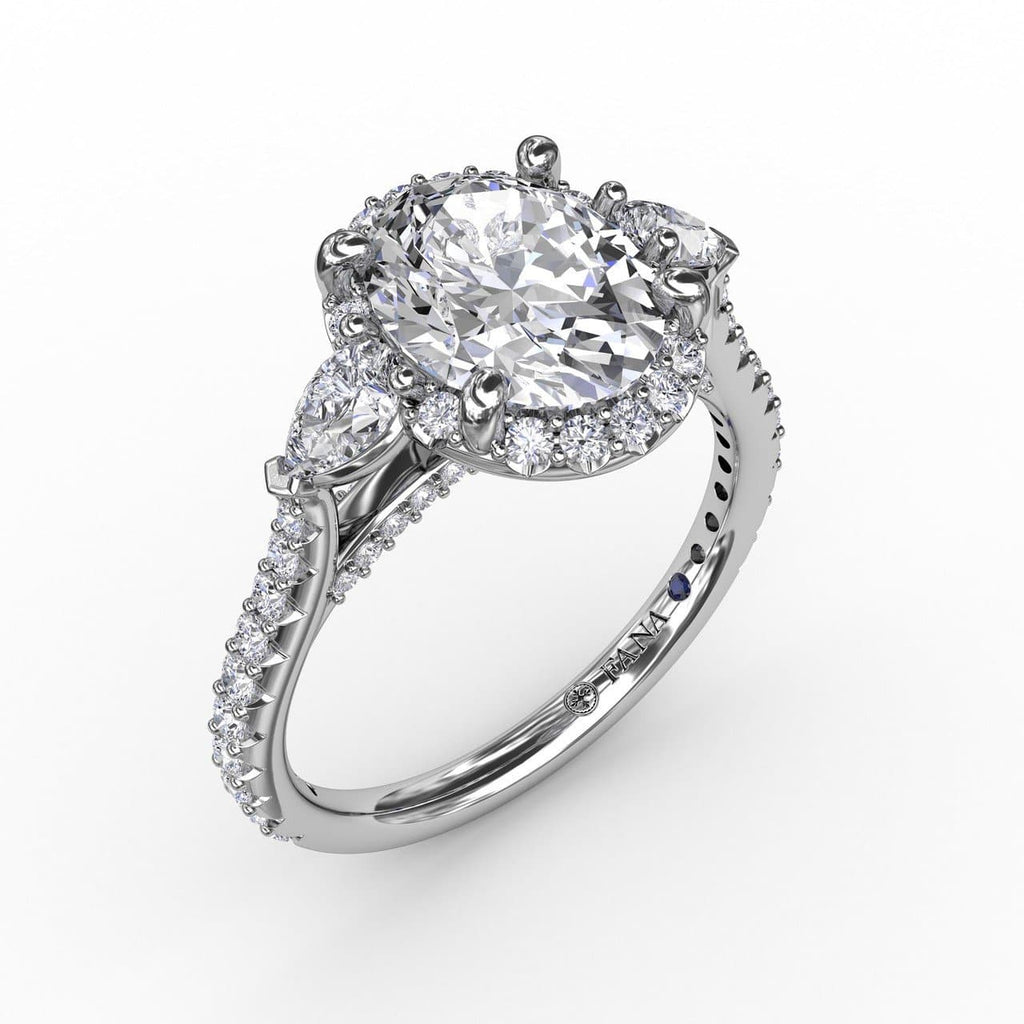 Oval Diamond Halo Engagement Ring With Pear-Shape Diamond Side Stones (5552775725211)