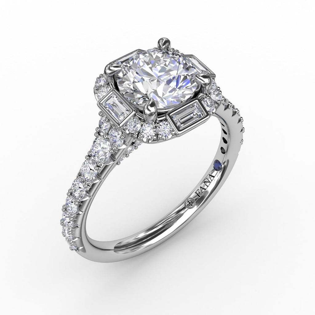 Cushion Shaped Diamond Halo Engagement Ring With Baguettes (5552776020123)