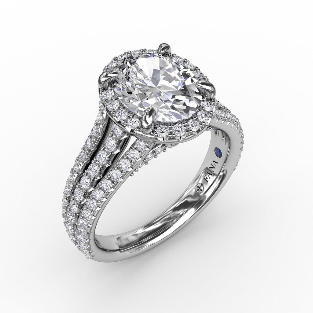 Oval Diamond Halo Engagement Ring With Triple-Row Diamond Band (5552776183963)