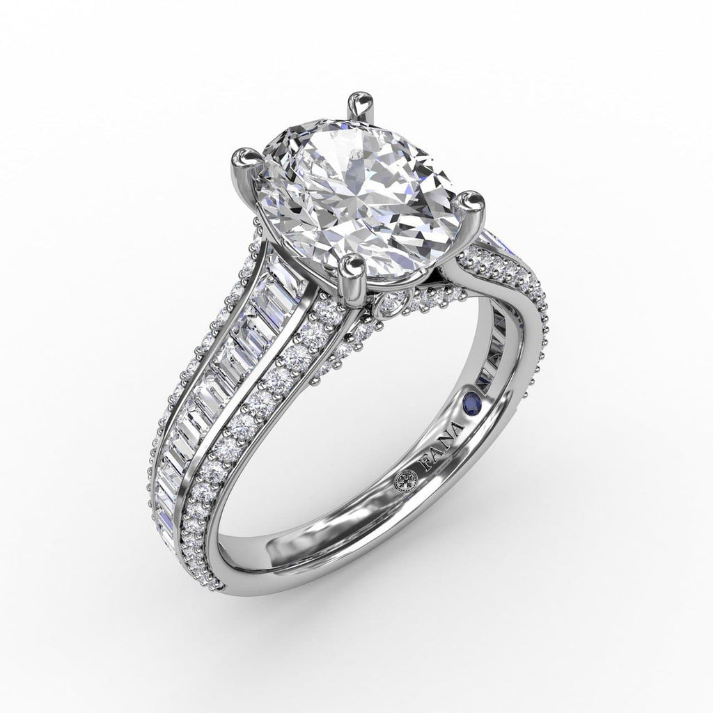 Oval Diamond Solitaire Engagement Ring With Baguettes and Pavé (5552776577179)