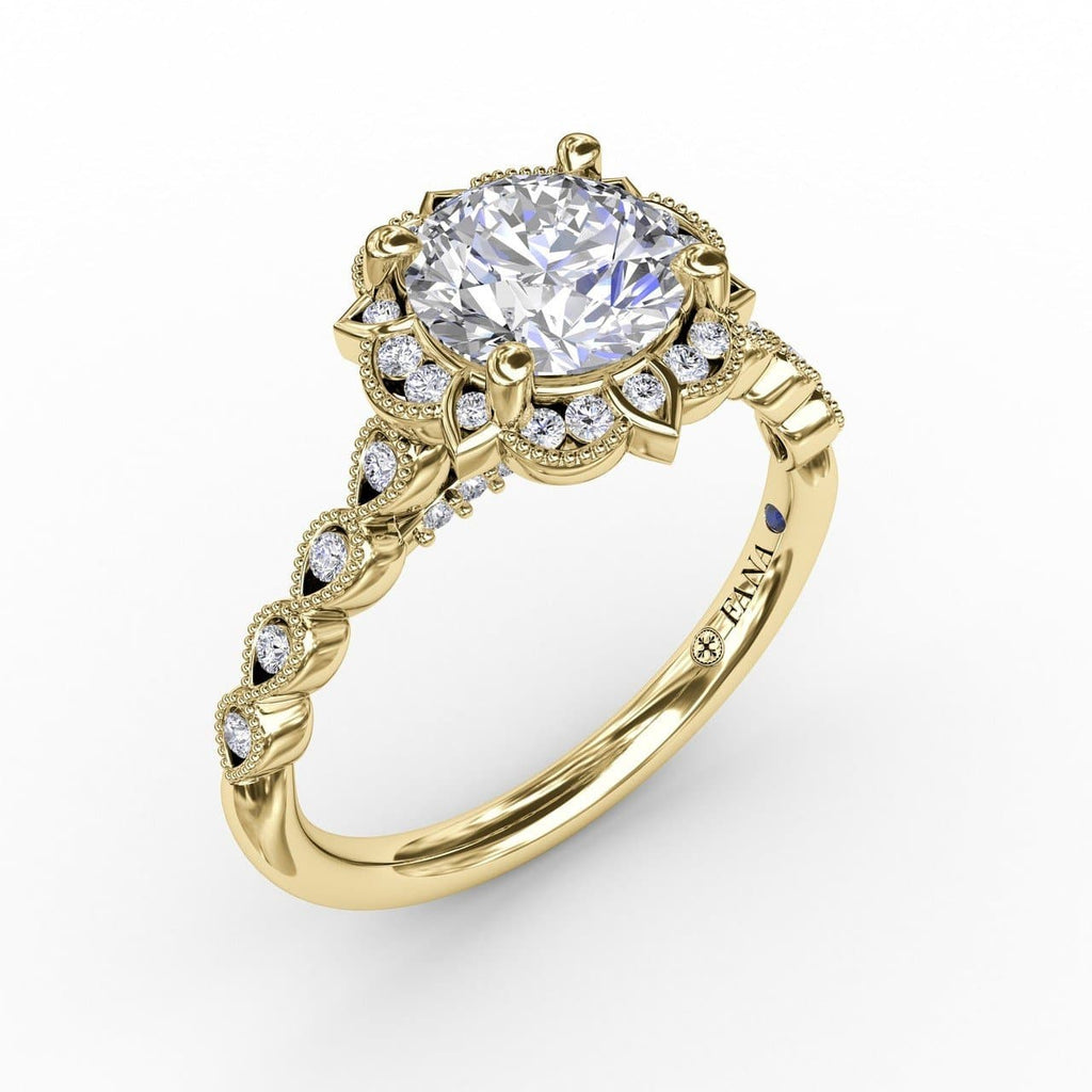 Round Diamond Engagement With Floral Halo and Milgrain Details (5552784736411)