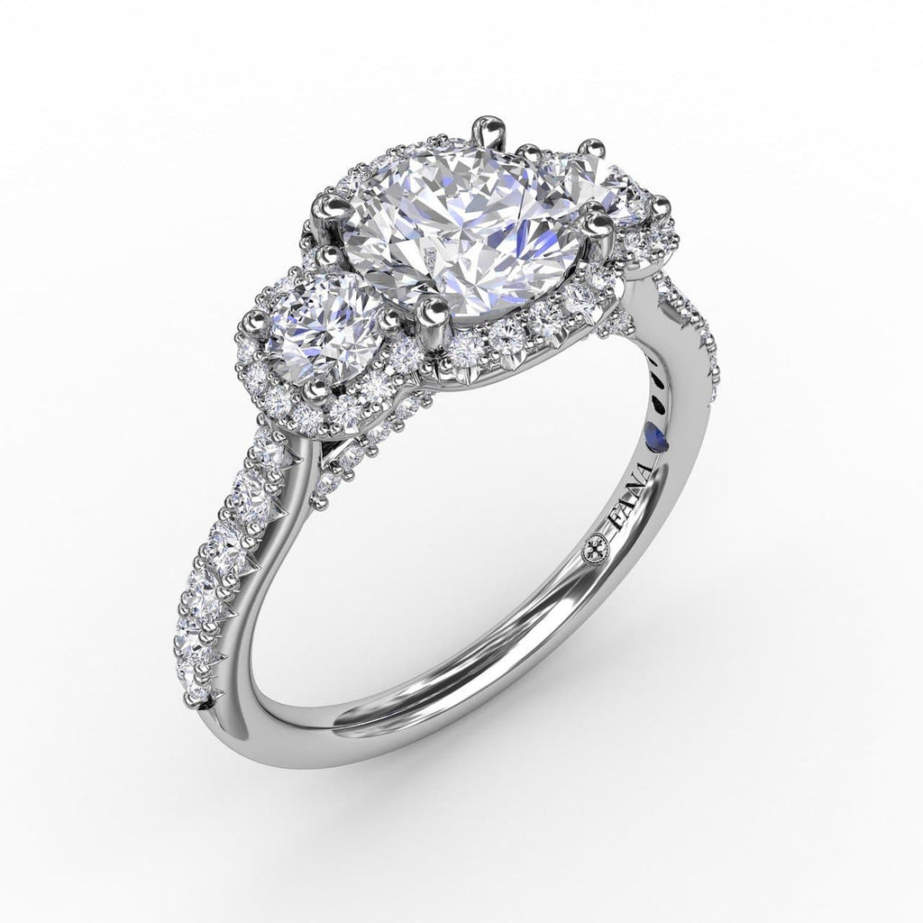 Three-Stone Round Diamond Halo Engagement Ring (5552782966939)