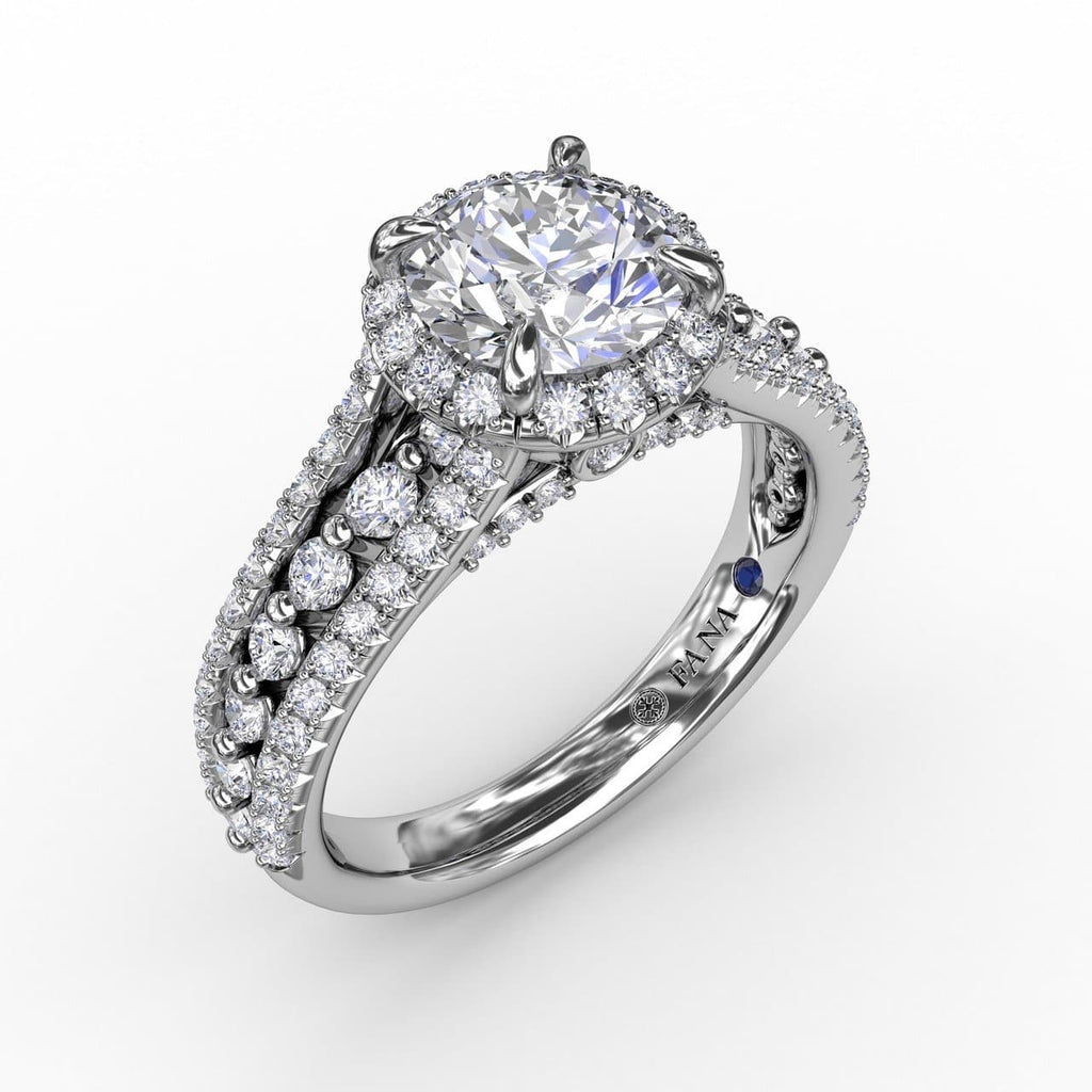 Classic Round Diamond Halo Engagement Ring With Triple-Row Diamond Band (5552776937627)