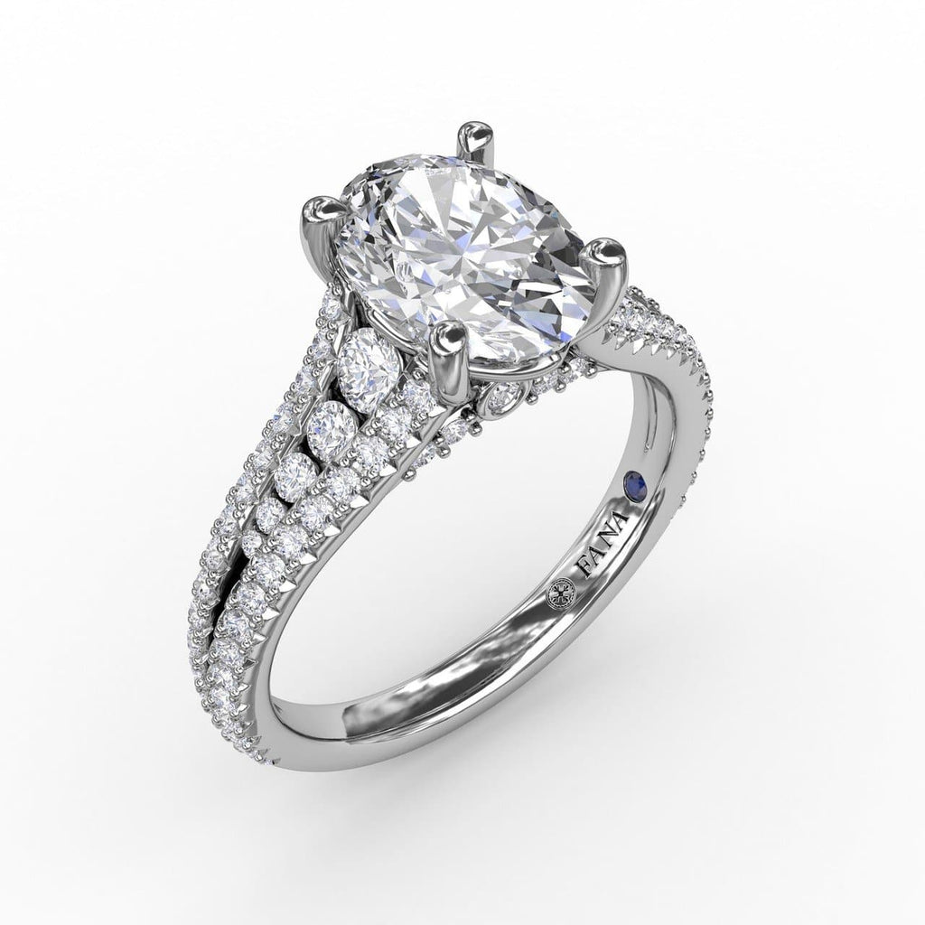 Oval Diamond Solitaire Engagement Ring With Triple-Row Tapered Diamond Band (5552777330843)