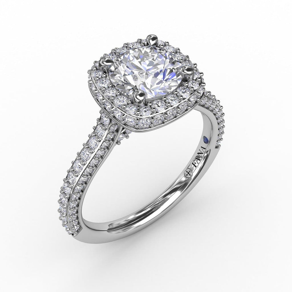 Cushion-Shaped Waterfall Halo Engagement Ring With Pavé Band (5552783294619)