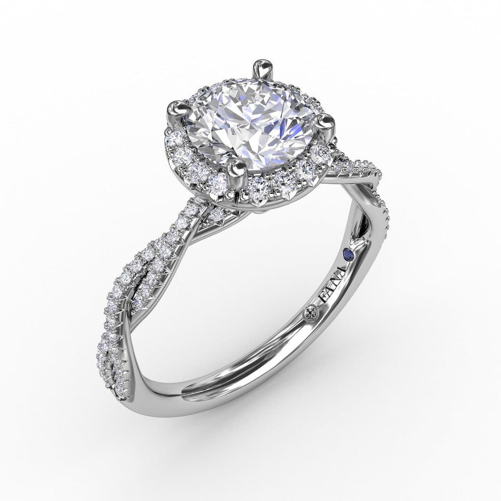 Classic Round Diamond Halo Engagement Ring With Twist Diamond Band (5552781721755)