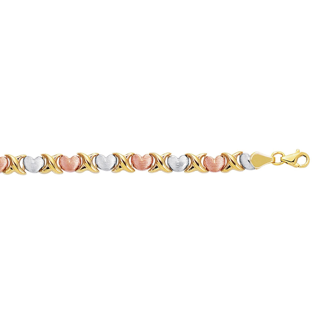 14kt 7.25 inches Yellow+White+Rose Gold Textured Shiny Tri Color Hugs+Kisses Bracelet with Pear Shape Clasp (5688362041499)
