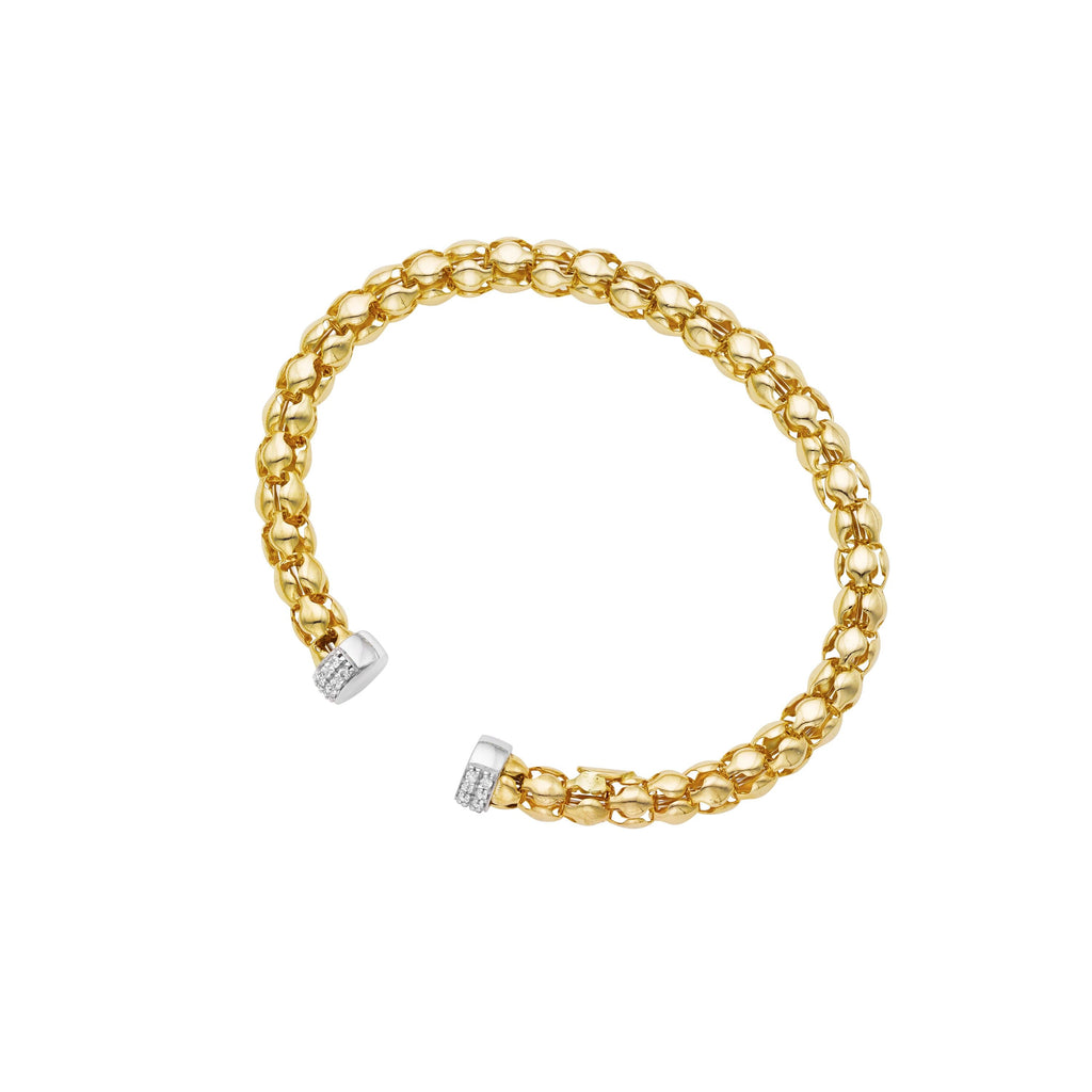 14kt Gold 18 inches Yellow+White Finish Chain:6mm+Drop:58x6mm Polished Lariet Necklace with Lobster Clasp with 0.5400ct 1.3mm White Diamond (5688348016795)