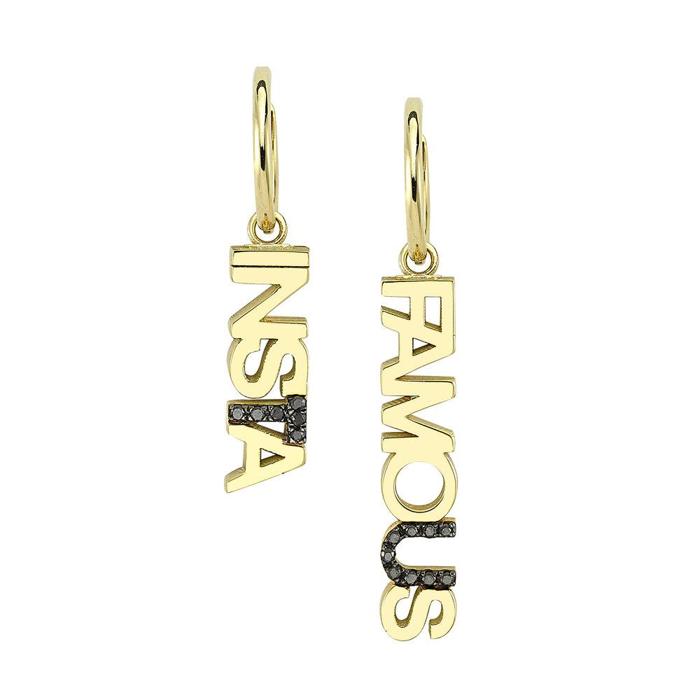 "OWN Your Story ""Insta Famous"" Huggie Hoops + Charms with Black Diamonds (5358081343643)"