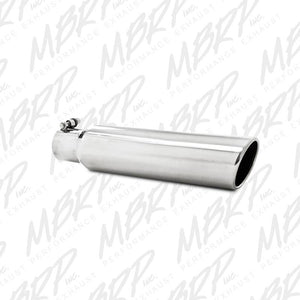 "MBRP Exhaust 3.5"" OD, 2.5"" inlet, 16"" in length, Angled Cut Rolled End, Clampless-no weld T5142"