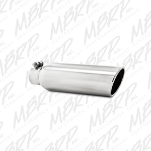 "MBRP Exhaust 3.5"" OD, 2.25"" inlet, 12"" in length, Angled Cut Rolled End, Clampless-no weld T5147"
