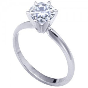18k White 6 Prong Moissanite Engagement Solitaire