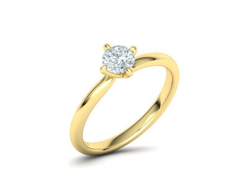 Single Stone Yellow Gold Engagement Ring