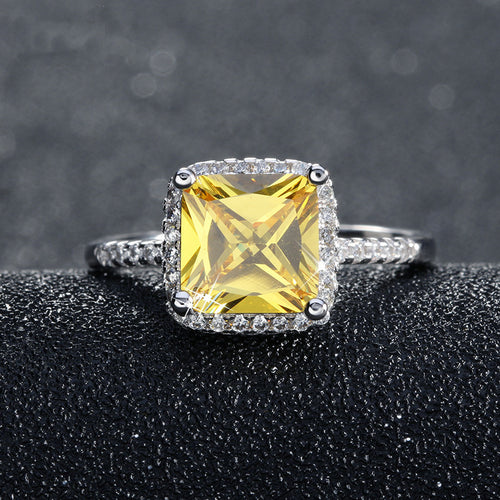 Yellow Stone in the Middle Engagement Ring