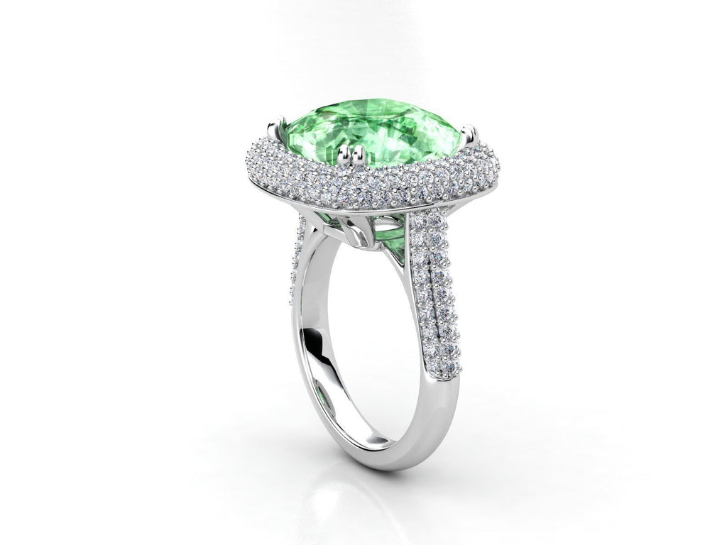 Green Tourmaline Spectacular Stone Ring