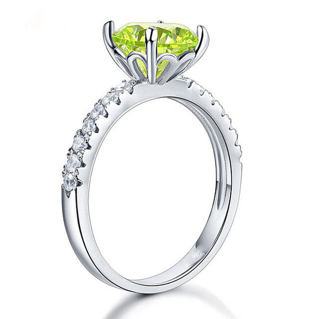 Green Garnet in the Middle Engagement Ring