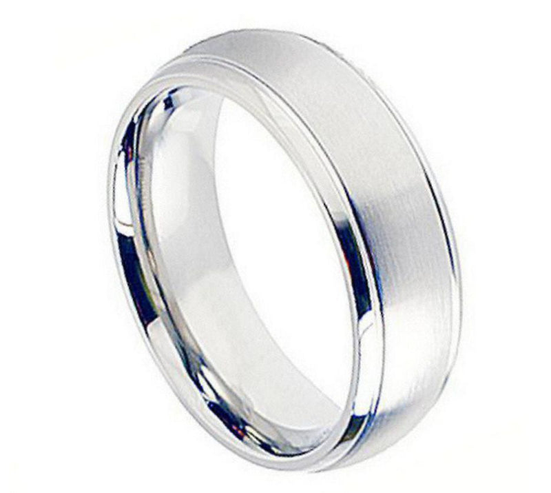 8mm Brushed Center with Shiny Grooved Edge Cobalt Ring
