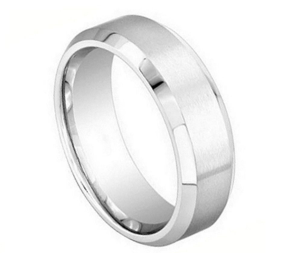 8mm Brushed Finish with Shiny Beveled Edge Cobalt Ring