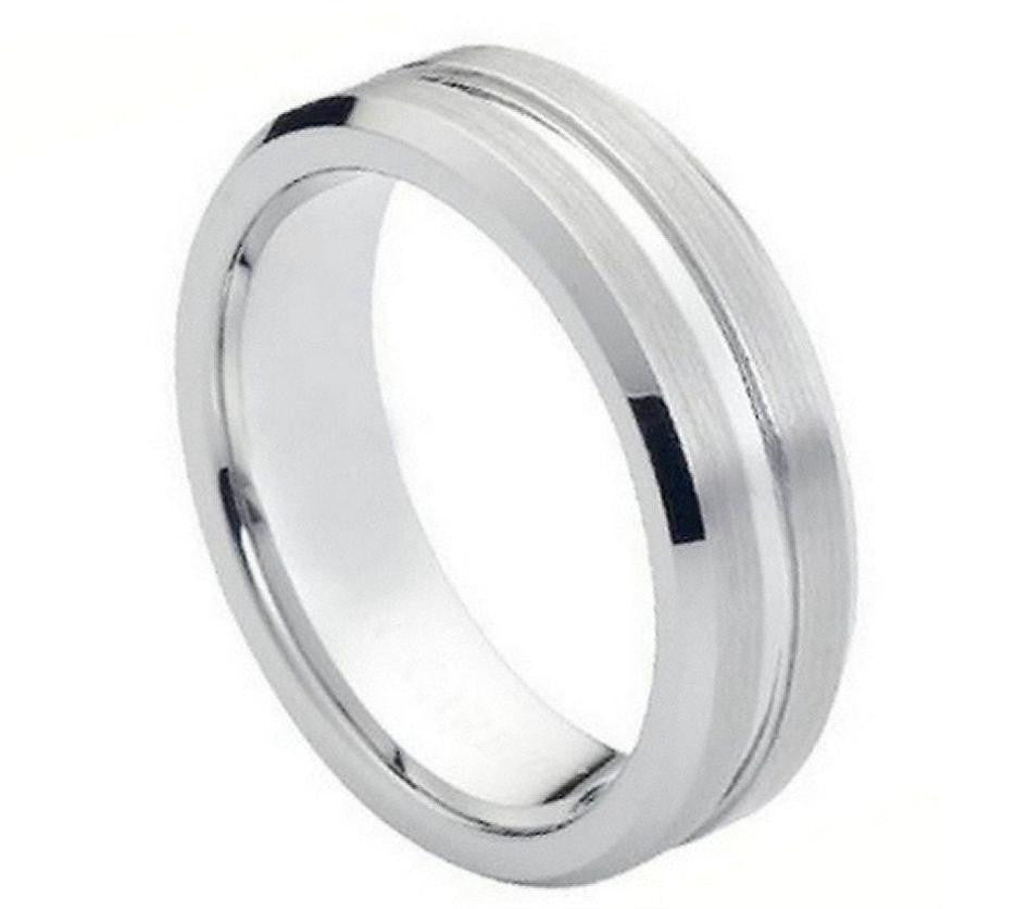 7mm Ribbed Center with Beveled Edge Cobalt Ring